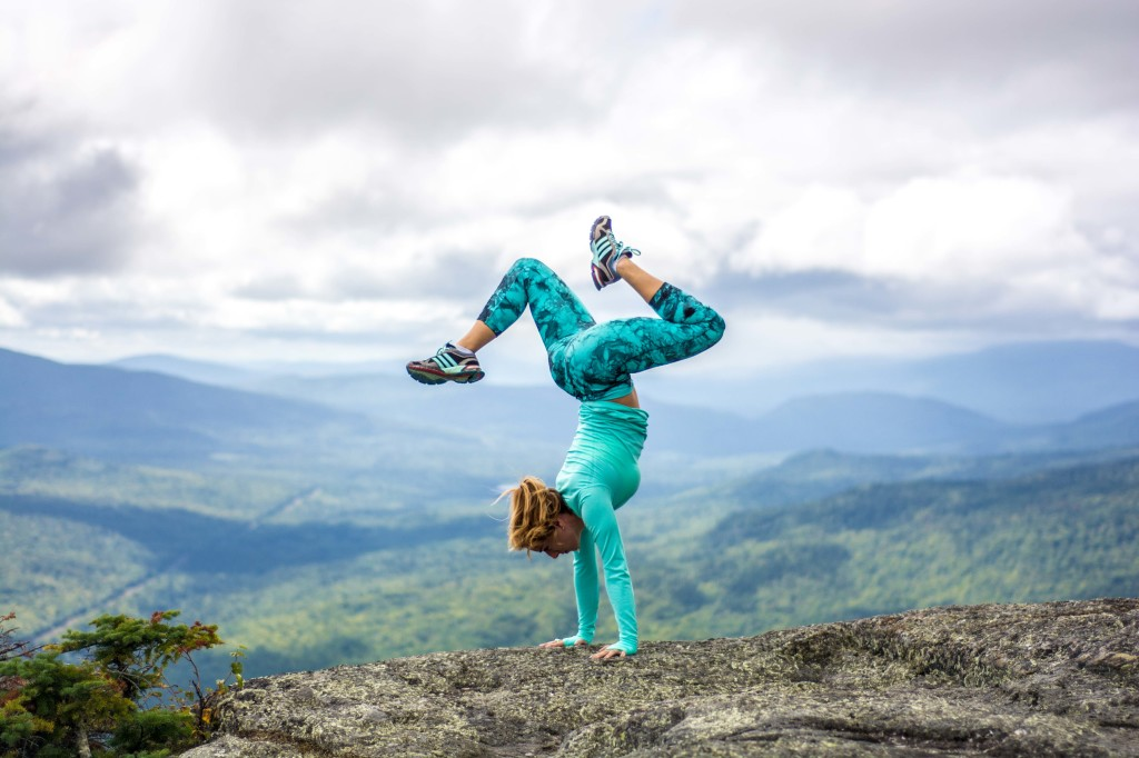 Lauren Rudick Yoga Handstand wearing Climawear on the Appalachian trail, Maine